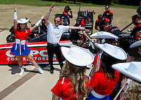 Apr 22, 2014; Kilgore, TX, USA; NHRA top fuel dragster driver Steve Torrence spends the afternoon with the Kilgore College Rangerettes at the Torrence estate. Mandatory Credit: Mark J. Rebilas-USA TODAY Sports