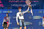 Race leader Filippo Ganna (ITA) Ineos Grenadiers also retains the young riders Maglia Bianca at the end of Stage 2 of the 103rd edition of the Giro d'Italia 2020 running 149km from Alcamo to Agrigento, Sicily, Italy. 4th October 2020.  <br /> Picture: LaPresse/Gian Mattia D'Alberto | Cyclefile<br /> <br /> All photos usage must carry mandatory copyright credit (© Cyclefile | LaPresse/Gian Mattia D'Alberto)