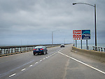 Chesapeake Bay Bridge on rainy day.