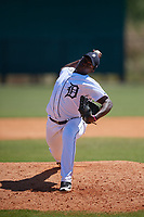 Detroit Tigers pitcher Miguel Paulino (58) during a Minor League Spring Training game against the Atlanta Braves on March 22, 2018 at the TigerTown Complex in Lakeland, Florida.  (Mike Janes/Four Seam Images)