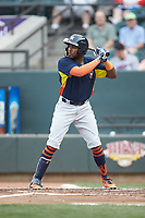 Ronnie Dawson (4) of the Buies Creek Astros at bat against the Winston-Salem Dash at BB&T Ballpark on May 5, 2018 in Winston-Salem, North Carolina. The Dash defeated the Astros 6-2. (Brian Westerholt/Four Seam Images)