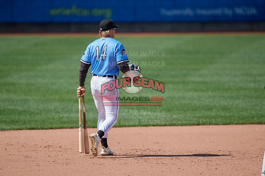Erie SeaWolves Cam Gibson (14) walks to the clubhouse after being ejected from an Eastern League game against the Akron RubberDucks on June 2, 2019 at UPMC Park in Erie, Pennsylvania.  Erie defeated Akron 8-5 in eleven innings in the second game of a doubleheader.  (Mike Janes/Four Seam Images)