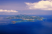 aerial St. Thomas from east to west. Saint Thomas Virgin Islands United States Virgin Islands caribbean.