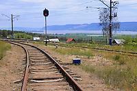"Railroad in Russian National Park ""Samarskaya Luka"" near Volga river and Zhiguli mountains"