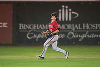 Billings Mustangs center fielder Drew Mount (8) prepares to catch a fly ball during a Pioneer League game against the Idaho Falls Chukars at Melaleuca Field on August 22, 2018 in Idaho Falls, Idaho. The Idaho Falls Chukars defeated the Billings Mustangs by a score of 5-3. (Zachary Lucy/Four Seam Images)