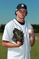 Detroit Tigers minor league pitcher Cole Nelson poses for a photo before an Instructional League game against the Philadelphia Phillies at Tiger Town in Lakeland, Florida;  October 13, 2010.  Photo By Mike Janes/Four Seam Images