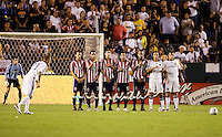 A Chivas USA wall lines up in front of LA Galaxy midfielder David Beckham. The LA Galaxy defeated Chivas USA 1-0 to win the final edition of the 2009 SuperClásico at Home Depot Center stadium in Carson, California on Saturday, August 29, 2009...