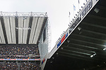 Sports Direct branding on the Leazes stand and East Stand roof.  Newcastle v West Ham, August 15th 2021. The first game of the season, and the first time fans were allowed into St James Park since the Coronavirus pandemic. 50,673 people watched West Ham come from behind twice to secure a 2-4 win.