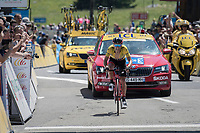 """yellow jersey/ GC leader Richie Porte (AUS/BMC) rolling over the finish line exactly 1'15"""" after stage winner Fuglsang and with that equalising their GC times. BUT as Fuglsang gets bonification seconds winning the stage, he actually wins the overall by a minimal margin. Porte becomes 2nd in the GC by that boni-magin.<br /> <br /> 69th Critérium du Dauphiné 2017<br /> Stage 8: Albertville > Plateau de Solaison (115km)"""
