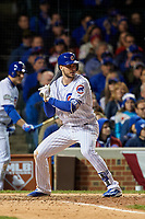 Chicago Cubs Kris Bryant (17) bats in the seventh inning during Game 5 of the Major League Baseball World Series against the Cleveland Indians on October 30, 2016 at Wrigley Field in Chicago, Illinois.  (Mike Janes/Four Seam Images)