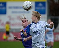 Finale Beker van West-Vlaanderen Vrouwen FC Knokke - SK Opex Girls Oostende :  kopduel tussen Margaux Verheecke (rechts) en Karen Devlieghere (links) <br /> foto VDB / BART VANDENBROUCKE