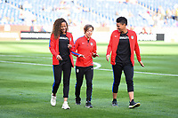 San Diego, CA - Sunday January 21, 2018: Casey Short, Meghan Klingenberg, Adrianna Franch prior to an international friendly between the women's national teams of the United States (USA) and Denmark (DEN) at SDCCU Stadium.