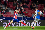 Juan Francisco Torres Belen, Juanfran (L), of Atletico de Madrid tackles Raul Garcia Carnero, Raul C, of CD Leganes during the La Liga 2017-18 match between Atletico de Madrid and CD Leganes at Wanda Metropolitano on February 28 2018 in Madrid, Spain. Photo by Diego Souto / Power Sport Images