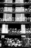Choeung Ek, the Khmer Rouge execution ground for prisoners from the S-21 detention centre at Tuol Sleng, where over 16,000 inmates were killed between 1975 and 1979. The stupa contains more than 8,000 skulls and is located a few kilometres south of Phnom Penh.