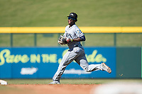 Peoria Javelinas shortstop Lucius Fox (5), of the Tampa Bay Rays organization, prepares to make a throw to first base during an Arizona Fall League game against the Mesa Solar Sox at Sloan Park on November 6, 2018 in Mesa, Arizona. Mesa defeated Peoria 7-5 . (Zachary Lucy/Four Seam Images)