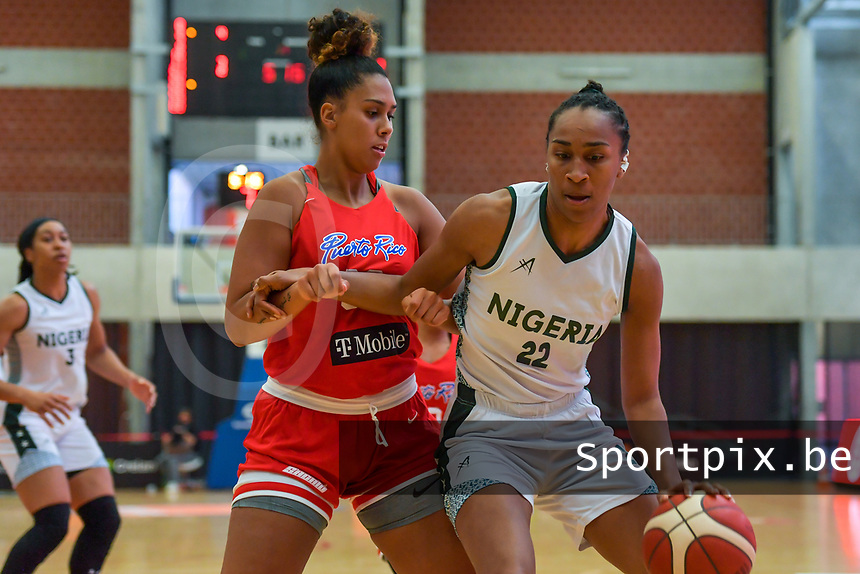 Oderah Chidom (22) of Nigeria India Pagan (33) of Puerto Rico pictured during a basketball game between Nigeria and Puerto Rico on Friday 28 th of May 2021 in Kortrijk , Belgium . PHOTO SPORTPIX.BE   SPP   STIJN AUDOOREN