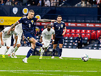 9th October 2021; Hampden Park, Glasgow, Scotland; FIFA World Cup football qualification, Scotland versus Israel; Lyndon Dykes takes the penalty kick but straight at the keeper who made an easy save