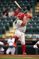 Clearwater Threshers first baseman Wilson Garcia (10) at bat during a game against the Bradenton Marauders on April 18, 2017 at LECOM Park in Bradenton, Florida.  Clearwater defeated Bradenton 4-2.  (Mike Janes/Four Seam Images)