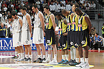 Real Madrid's Sergio Llull, Carlos Suarez, Rudy Fernandez, Nikola Mirotic nd Mirza Begic and Fenerbahce Ulker Istanbul's Emir Preldzic, Bo McCalebb, Mike Batiste, Bojan Bogdanovic and Romain Sato during a minute of silence for the victims of the Madrid Hallowing party the previous day during Euroleague 2012/2013 match. during Euroleague 2012/2013 match.November 30,2012. (ALTERPHOTOS/Acero)