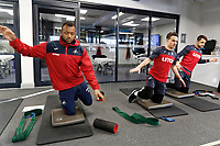 (L-R) Jordan Ayew, Roque Mesa and Lukasz Fabianski exercise in the gym during the Swansea City Training at The Fairwood Training Ground, Swansea, Wales, UK. Friday 15 December 2017