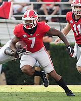 Athens, GA - November 4, 2017: The number 1 ranked University of Georgia Bulldogs host the University of South Carolina Gamecocks at Sanford Stadium.  Final score UGA 24, USC 10.
