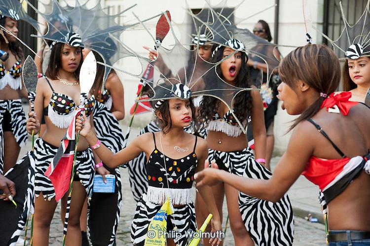 Mas bands on parade at Notting Hill Carnival, London.