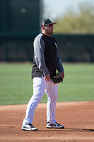 Chicago White Sox third baseman Jake Burger (91) during Spring Training Camp on February 25, 2018 at Camelback Ranch in Glendale, Arizona. (Zachary Lucy/Four Seam Images)