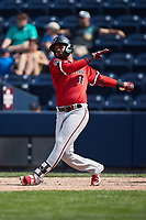 Humberto Arteaga (11) of the Rochester Red Wings follows through on his swing against the Scranton/Wilkes-Barre RailRiders at PNC Field on July 25, 2021 in Moosic, Pennsylvania. (Brian Westerholt/Four Seam Images)