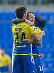 St Johnstone v Brechin City…10.10.20   McDiarmid Park  Betfred Cup<br />Stevie May celebrates his second goal with provider Callum Booth<br />Picture by Graeme Hart.<br />Copyright Perthshire Picture Agency<br />Tel: 01738 623350  Mobile: 07990 594431