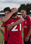 Bala Town 3 FC Differdange 4, 03/08/2015. Belle Vue, Europa League. Visiting players celebrating after the Europa League first qualifying round, second leg tie between Bala Town from Wales and FC Differdange 03 of Luxembourg. It was the Welsh club's second season of European competition, and due to ground regulations the match was played at nearby Belle Vue, home of Rhyl FC. The visitors won the tie 4-3 on aggregate due to a last-minute away goal by Omar Er Rafik, in a game watched by 1039 fans and progressed to play Turkish giants Trabzonspor in the next round. Photo by Colin McPherson.