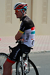 Gregory Rast (SUI) Radioshack-Nissan Trek relaxes before the start of Stage 1 of the Tour of Qatar 2012 running 142.5km from Barzan Towers to Doha Golf Club, Doha, Qatar. 5th February 2012.<br /> (Photo by Eoin Clarke/NEWSFILE).