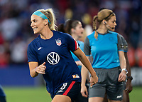 ORLANDO, FL - MARCH 05: Julie Ertz #8 of the United States warms up during a game between England and USWNT at Exploria Stadium on March 05, 2020 in Orlando, Florida.