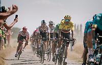 yellow jersey / GC leader Greg Van Avermaet (BEL/BMC) on pavé sector #3<br /> <br /> Stage 9: Arras Citadelle > Roubaix (154km)<br /> <br /> 105th Tour de France 2018<br /> ©kramon