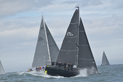 When the going gets tough….overall winner Nieulargo (Denis Murphy RCYC, left) and Pete Smyth's Sun Fast 3600 Searcher (NYC) getting their teeth into the early stages of the Dun Laoghaire to Dingle Race. Photo: Michael Chester