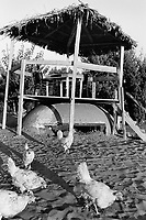 Albania. Province of Lushnje. Diviak. A bar with tables built on top of old derelict bunkers on the beach close to the Mediterranean sea front. Enver Hoxha (1908-1985) was for 40 years a dictator and a communist leader. He decided after the historic break with Russia in 1961 to protect his country from any invaders by investing in a massive fortification (more than a million bunkers were built over the years till 1985). © 2003 Didier Ruef