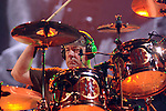 Drummer Neil Peart of Rush performs at the Cynthia Woods Mitchell Pavilion in The Woodlands Saturday Sept. 25, 2010. (Dave Rossman/For the Chronicle)