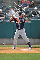 Jon Berti (5) of the New Hampshire Fisher Cats bats during a game between the New Britain Rock Cats and the New Hampshire Fisher Cats at New Britain Stadium on April 19, 2015 in New Britain, Connecticut.<br /> (Gregory Vasil/Four Seam Images)