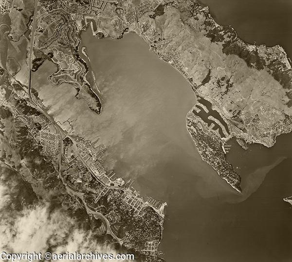 historical aerial photograph Richardson Bay, Sausalito, Tiburon, Marin County, California, 1958