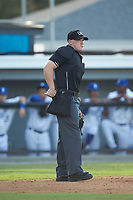 Home plate umpire Adam Pierce during the Appalachian League game between the Danville Braves and the Burlington Royals at Burlington Athletic Stadium on July 13, 2019 in Burlington, North Carolina. The Royals defeated the Braves 5-2. (Brian Westerholt/Four Seam Images)