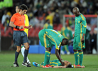 Steven Pienaar of South Africa lies out cold. Brazil defeated South Africa 1-0 during the semi-finals of the FIFA Confederations Cup at Ellis Park Stadium in Johannesburg, South Africa on June 25, 2009..