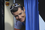 Nicolas Roche (IRL) AG2R La Mondial peers out from the team bus before the start of the 98th edition of Liege-Bastogne-Liege outside the Palais des Princes-Eveques, running 257.5km from Liege to Ans, Belgium. 22nd April 2012.  <br /> (Photo by Eoin Clarke/NEWSFILE).