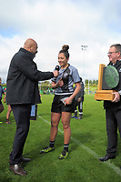 Skysport's Willie Iose interviews St Mary's captain Dhys Faleafaga after the 2017 1st XV rugby Top Four girls' final between St Mary's College and Hamilton Girls' High School at Sport and Rugby Institute in Palmerston North, New Zealand on Sunday, 10 September 2017. Photo: Dave Lintott / lintottphoto.co.nz