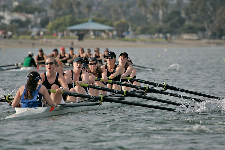 Rowing, San Diego Crew Classic, women's masters eights, Lake Washington Rowing Club, Mission Bay, San Diego, California, West Coast, USA, released,.