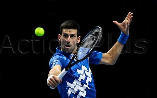 20th November 2020; O2, London;  Novak Djokovic Serbia returns to Alexander Zverev during the 2020 ATP Finals