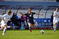 #10 Carli Lloyd takes on Iceland's #2 Sif Atladottir and #11 Sara Gunnarsdottier at Vila Real Sfo. Antonia during the Algarve Cup in Portugal.