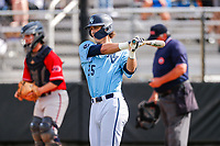 Hardin Valley Academy Hawks shortstop Lukas Cook (25) bats against the West High School Rebels in Knoxville, Tennessee, on May 3, 2019. Hardin Valley beat West 5-0. (Danny Parker/Four Seam Images)
