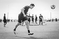 BRADENTON, FL - JANUARY 21: Aaron Long heads the ball during a training session at IMG Academy on January 21, 2021 in Bradenton, Florida.
