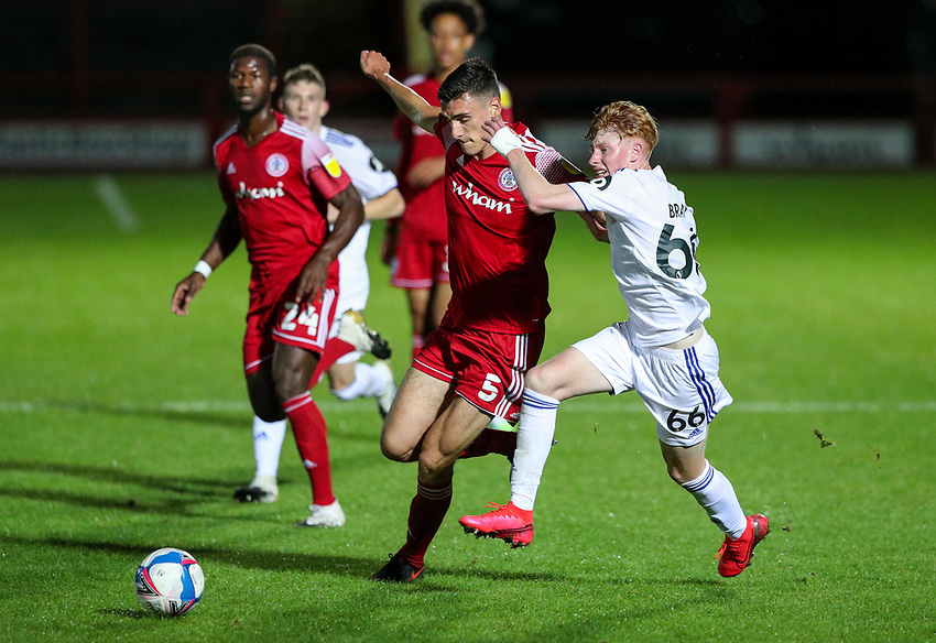 Leeds United U21's Owen Bray takes on Accrington Stanley's Ross Sykes<br /> <br /> Photographer Alex Dodd/CameraSport<br /> <br /> EFL Trophy Northern Section Group G - Accrington Stanley v Leeds United U21 - Tuesday 8th September 2020 - Crown Ground - Accrington<br />  <br /> World Copyright © 2020 CameraSport. All rights reserved. 43 Linden Ave. Countesthorpe. Leicester. England. LE8 5PG - Tel: +44 (0) 116 277 4147 - admin@camerasport.com - www.camerasport.com