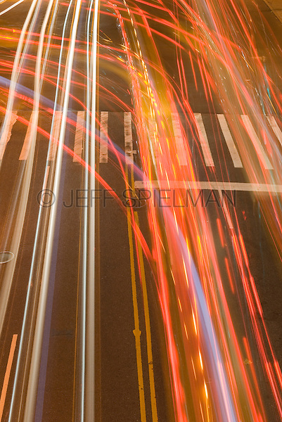 Available for Commercial and Editorial Licensing Exclusively from Getty Images<br /> <br /> Please go to www.gettyimages.com and search for image # 84068676<br /> <br /> Blurred Motion View of Traffic/Car Headlights at Night, 42nd Street, New York City, New York State, USA