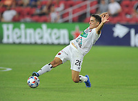 WASHINGTON, DC - JULY 7: Bernald Alfaro #26 of Liga Deportiva Alajuense plays the ball during a game between Liga Deportiva Alajuense  and D.C. United at Audi Field on July 7, 2021 in Washington, DC.